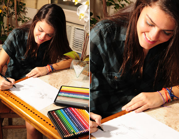 Nina Reis no curso de moda