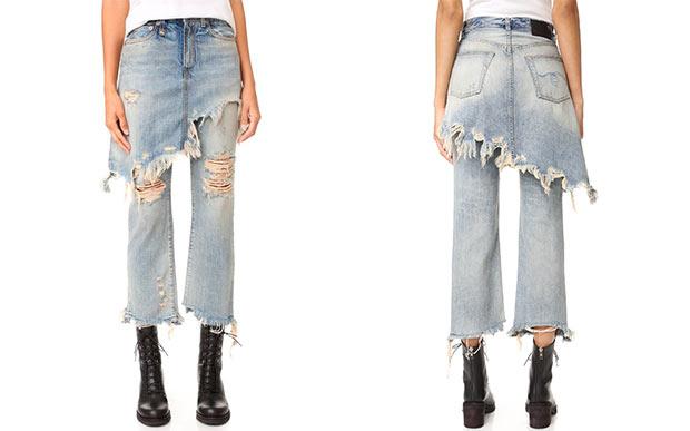 saia calça jeans usada pela Gigi Hadid