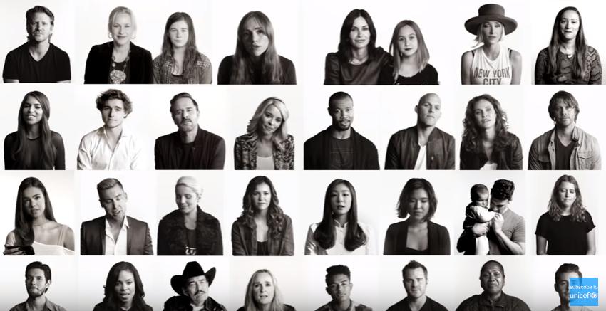 Artistas em campanha da UNICEF (Reprodução/Youtube)