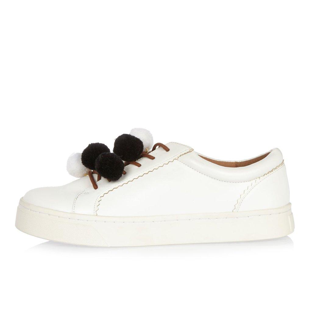 River Island White Pom Pom Sneakers (R$200)