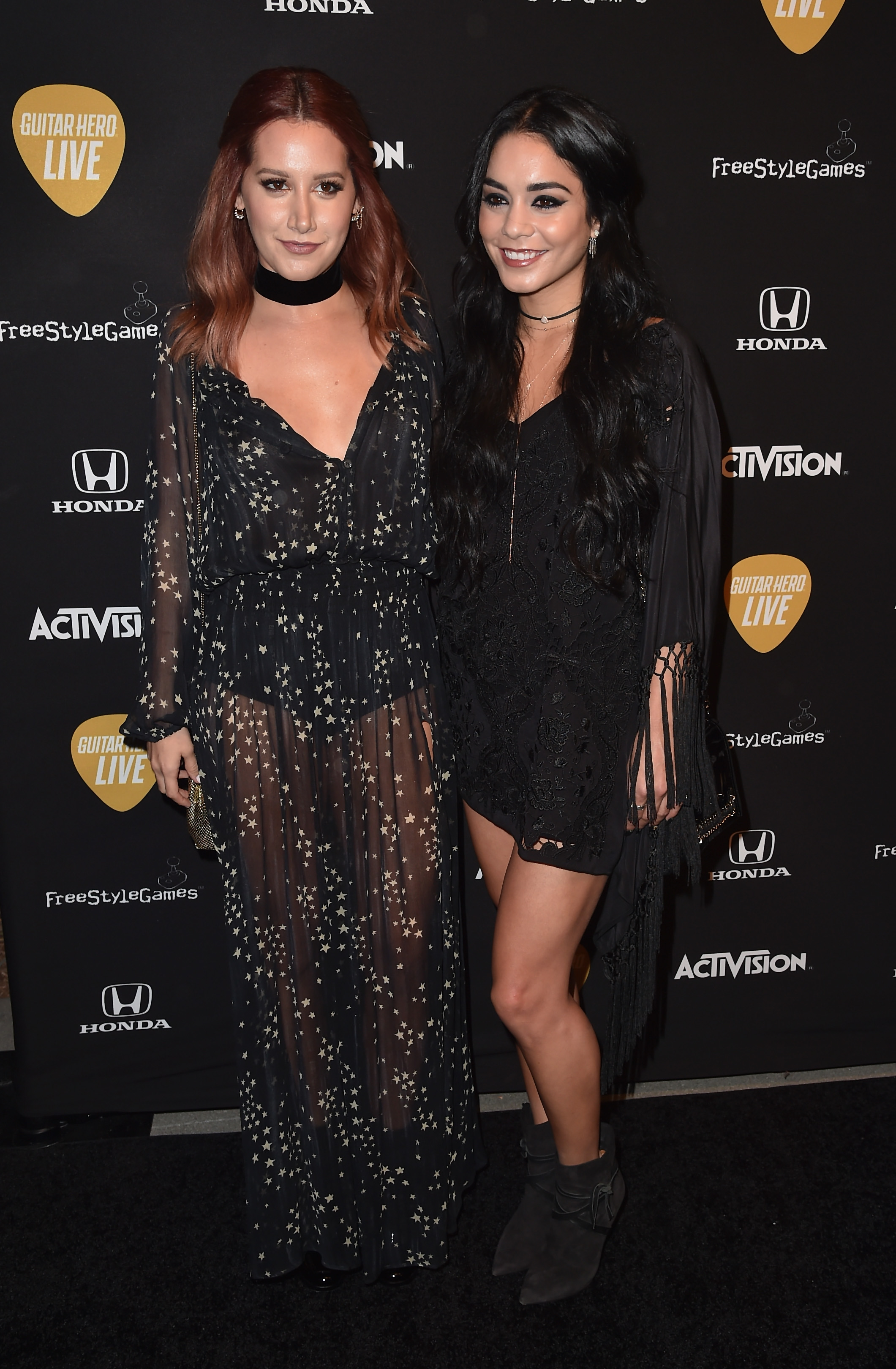 LOS ANGELES, CA - OCTOBER 19: Actors Ashley Tisdale and Vanessa Hudgens attend the Guitar Hero Live Launch Party at YouTube Space LA on October 19, 2015 in Los Angeles, California. (Photo by Alberto E. Rodriguez/Getty Images)