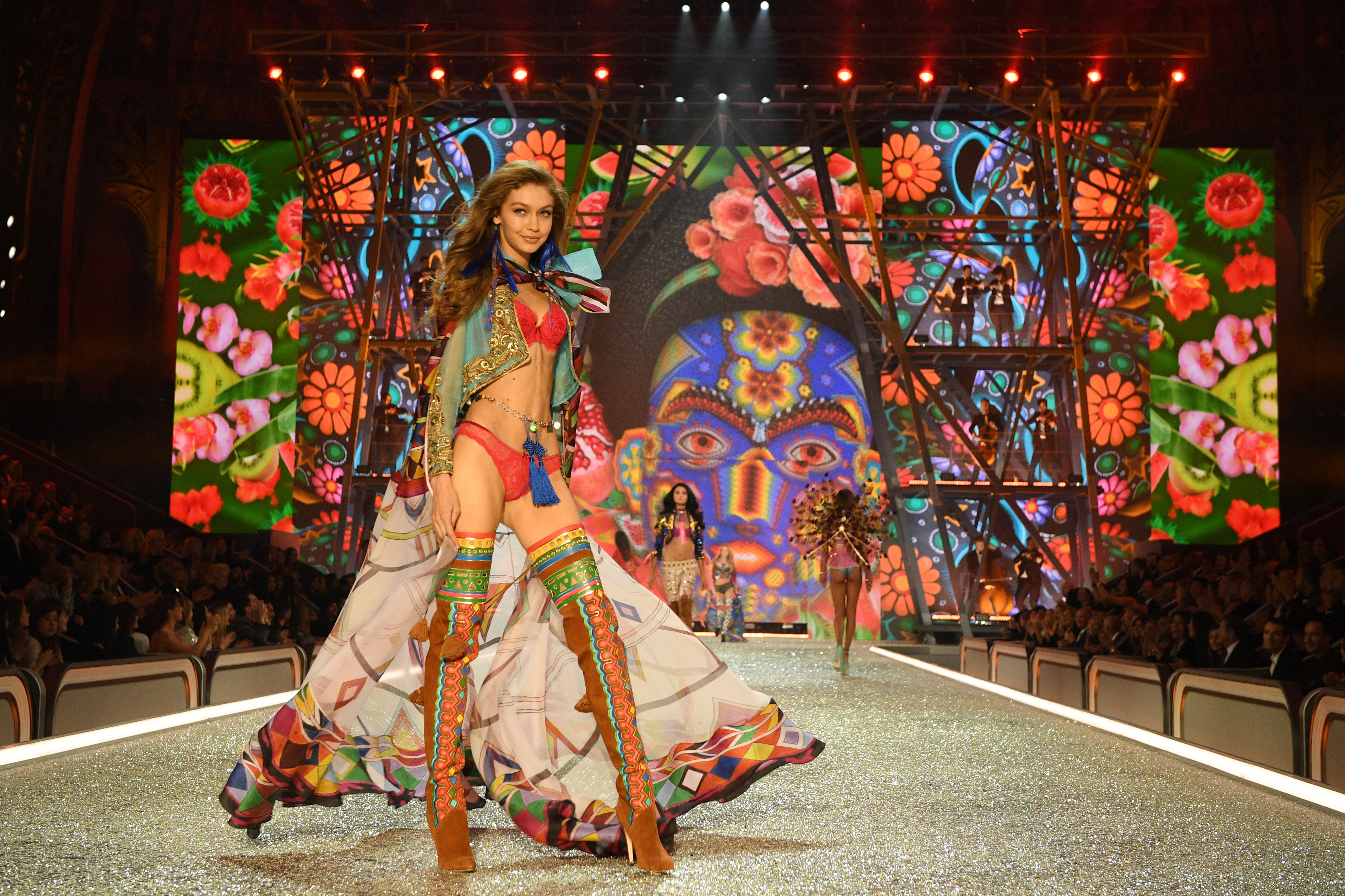 PARIS, FRANCE - NOVEMBER 30: Gigi Hadid walks the runway during the 2016 Victoria's Secret Fashion Show on November 30, 2016 in Paris, France. (Photo by Dimitrios Kambouris/Getty Images for Victoria's Secret)