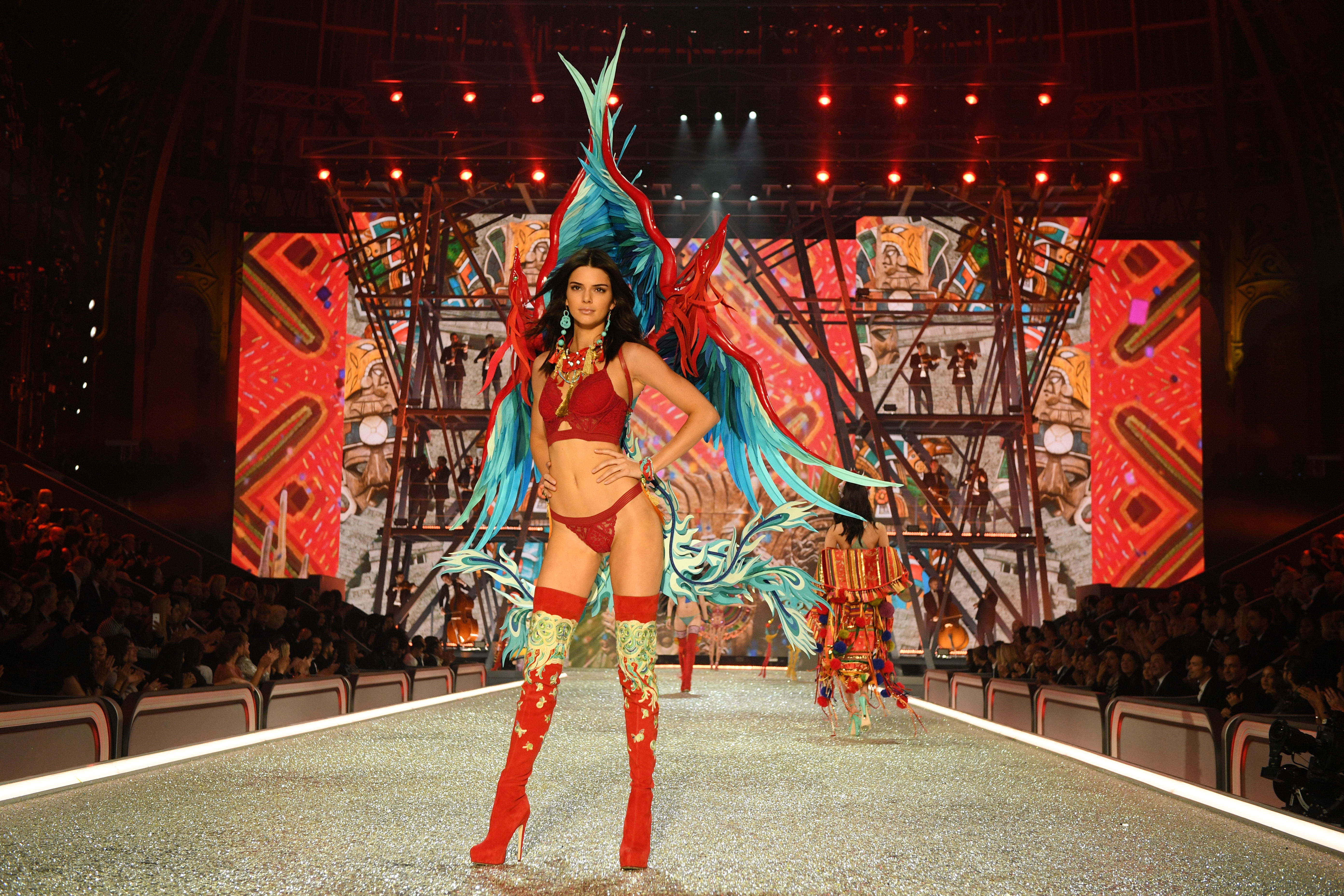 PARIS, FRANCE - NOVEMBER 30: Kendall Jenner walks the runway during the 2016 Victoria's Secret Fashion Show on November 30, 2016 in Paris, France. (Photo by Dimitrios Kambouris/Getty Images for Victoria's Secret)