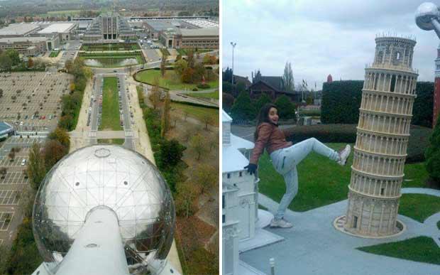 À esquerda, a vista do Atomium; à direita, a maquete da Torre de Pisa na mini Europa.