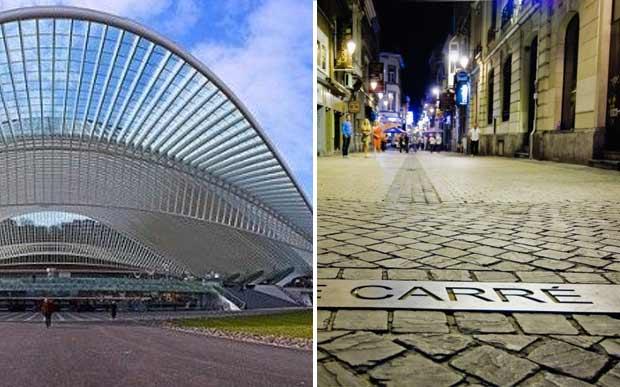À esquerda, a estação de trem; à direita, o Carré