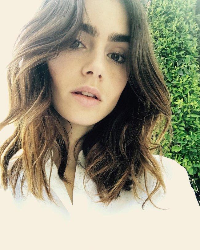 lily collins cabelo