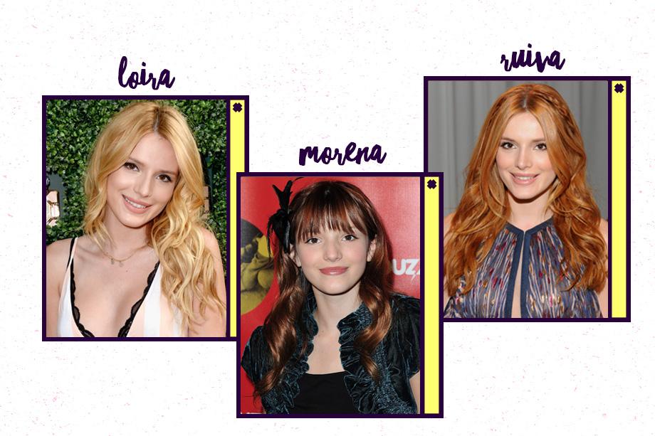 O cabelo natural da Bella Thorne é escuro, mas a atriz ficou muito conhecida pelos fios ruivos. Ah, ela também já foi loira, lá em 2015.