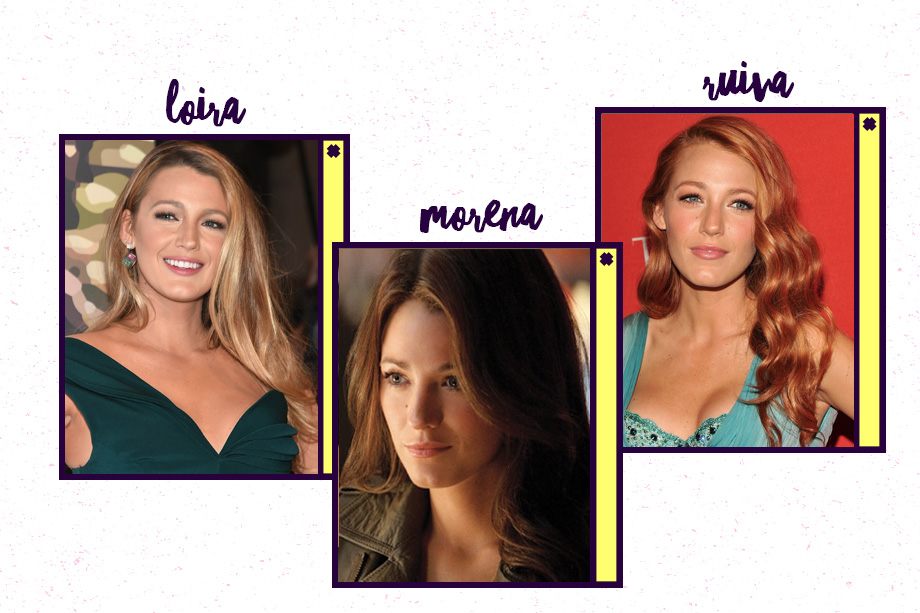 Blake Lively é conhecida por seu cabelo loiro à la Serena van der Woodsen! Mas já apareceu morena para as filmagens de <em>Lanterna Verde </em>e ruiva para o filme<em>Hick</em>. Linda com qualquer cor!