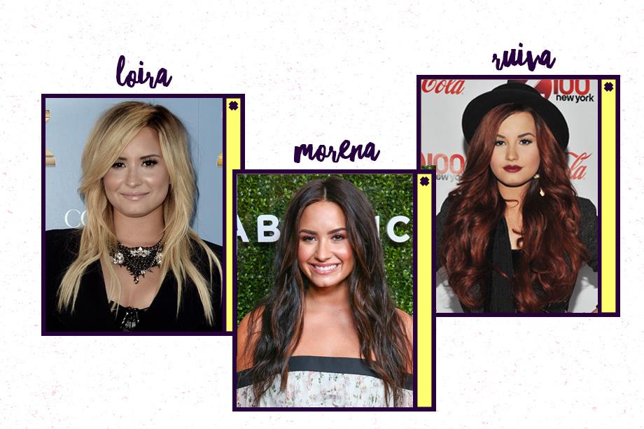 No momento, ela tem um cabelão castanho, mas Demi Lovato também foi ruiva, com um tom de vermelho escuro (no fim de 2011) e já apostou nos fios loiros.