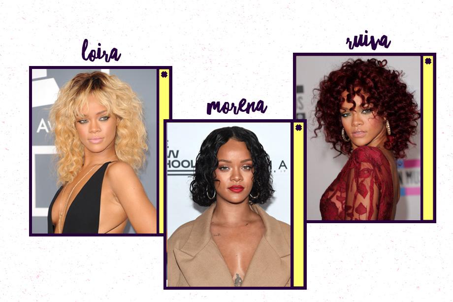 Rihanna é uma camaleoa por excelência! Hoje, está com o cabelo escuro (às vezes curto, às vezes longo), mas já apareceu ruiva em 2010 e ficou bem loira no início de 2012. Estamos ansiosas pela próxima mudança!