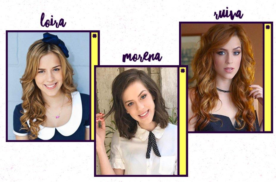 Sophia Abrahão ficou famosa com o cabelo loiro da personagem Alice, de <em>Rebelde</em>- mas não podemos esquecer que ela já foi até platinada! Para a novela <em>Amor à Vida</em>, pintou os fios de ruivo e, hoje em dia, está morena.