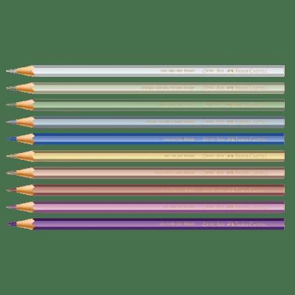 "<span>Lápis De Cor <a href=""https://www.saraiva.com.br/lapis-de-cor-faber-castell-metallic-10-cores-10285043.html"">Faber Castell</a> Metallic 10 Cores (R$ 19,90*).</span>"