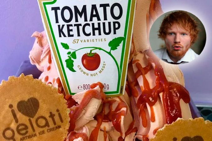 Sorveteria lança sorvete sabor ketchup em homenagem ao Ed Sheeran