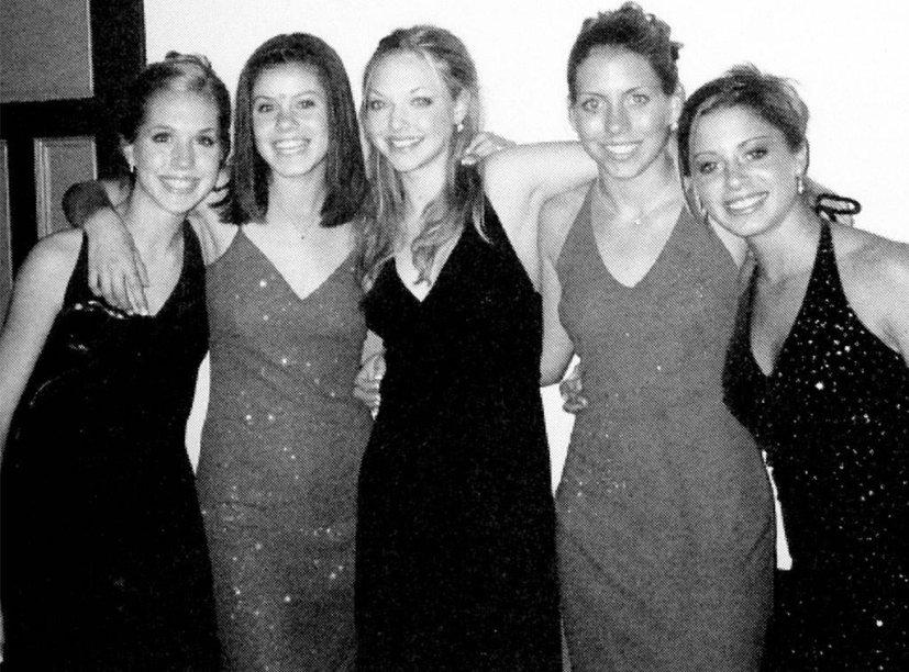 Não conseguimos ver a cor exata do vestido da Amanda Seyfried mas dá pra perceber que era bem simples e discreto, né?
