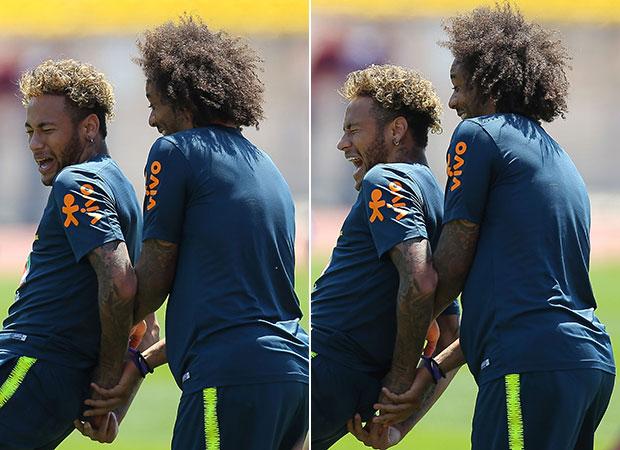 Neymar e Marcelo durante treino na Rússia