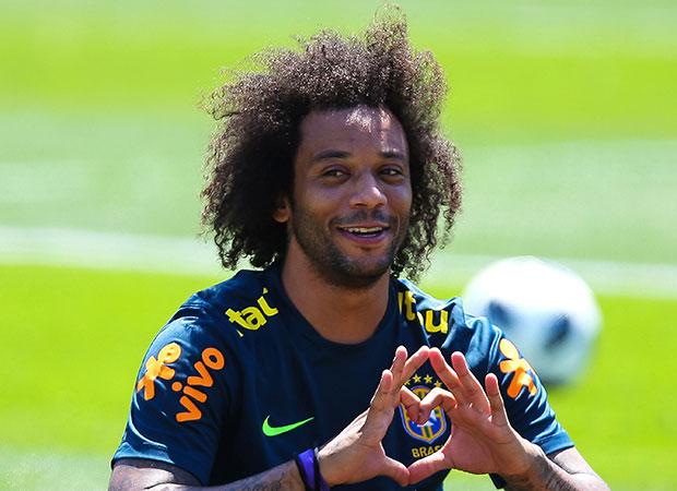 Marcelo durante treino na Rússia