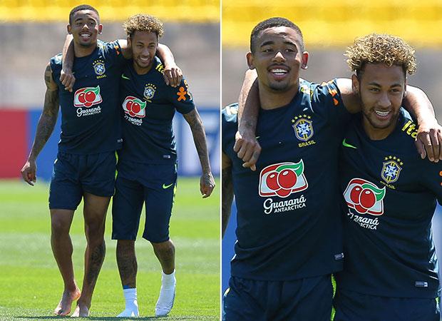 Gabriel Jesus e Neymar durante treino na Rússia