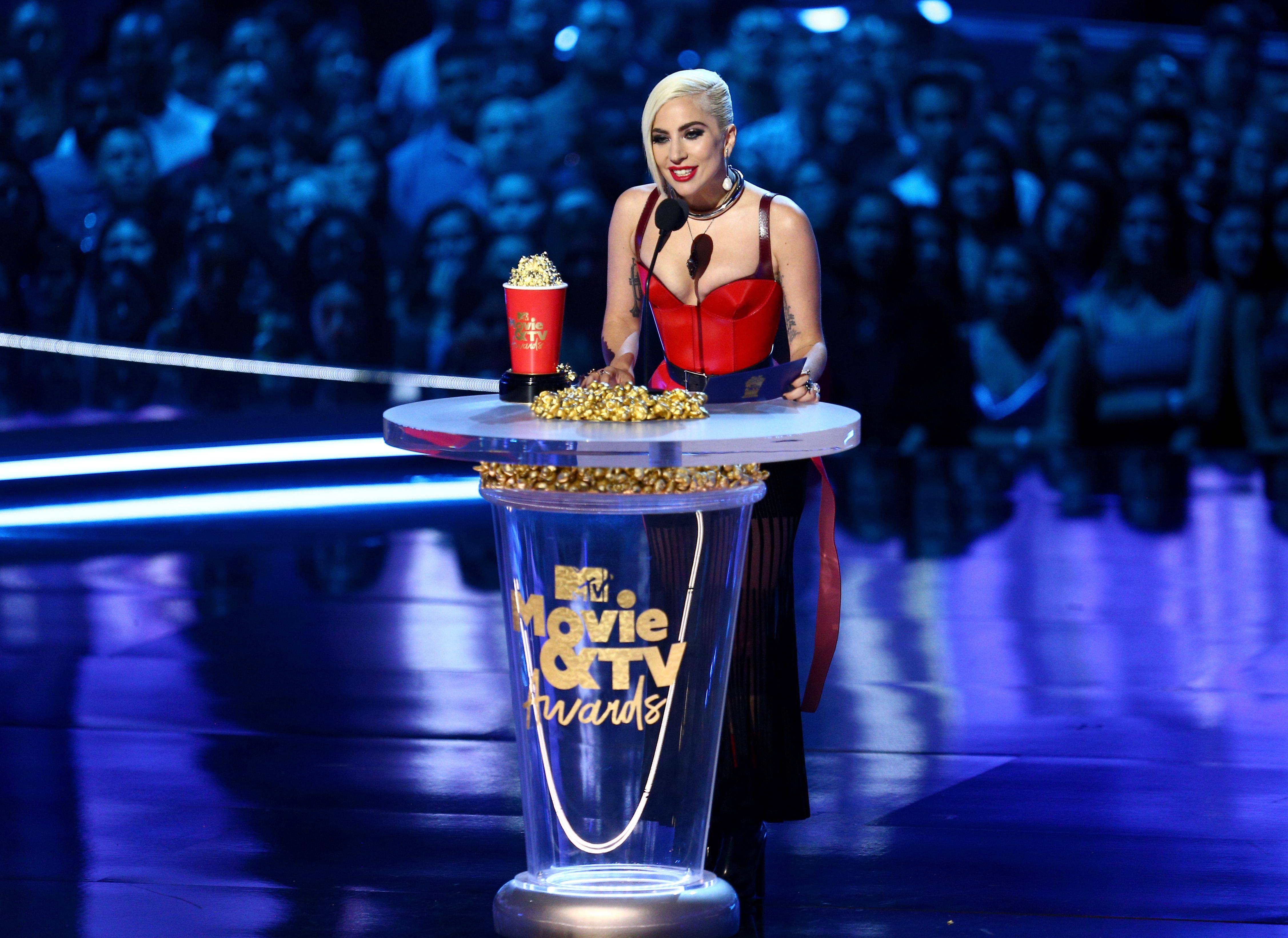 2018 MTV Movie And TV Awards - Lady Gaga aceitando o prêmio de 'Melhor Documentário Musical'