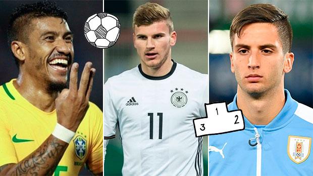 Paulinho, Werner eBentancur, os possíveis grandes nomes da Copa do Mundo 2018.