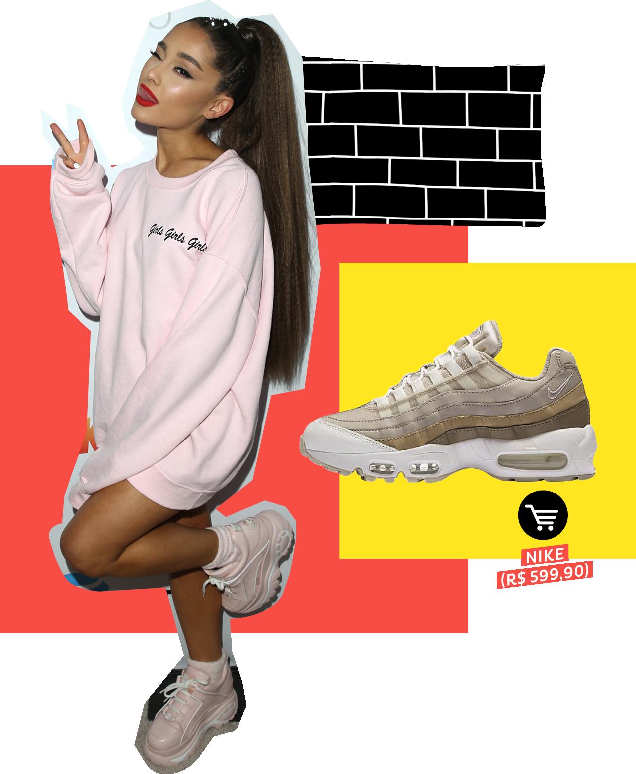Ariana Grande usando dad sneakers no street style. Dicas de como usar e onde comprar