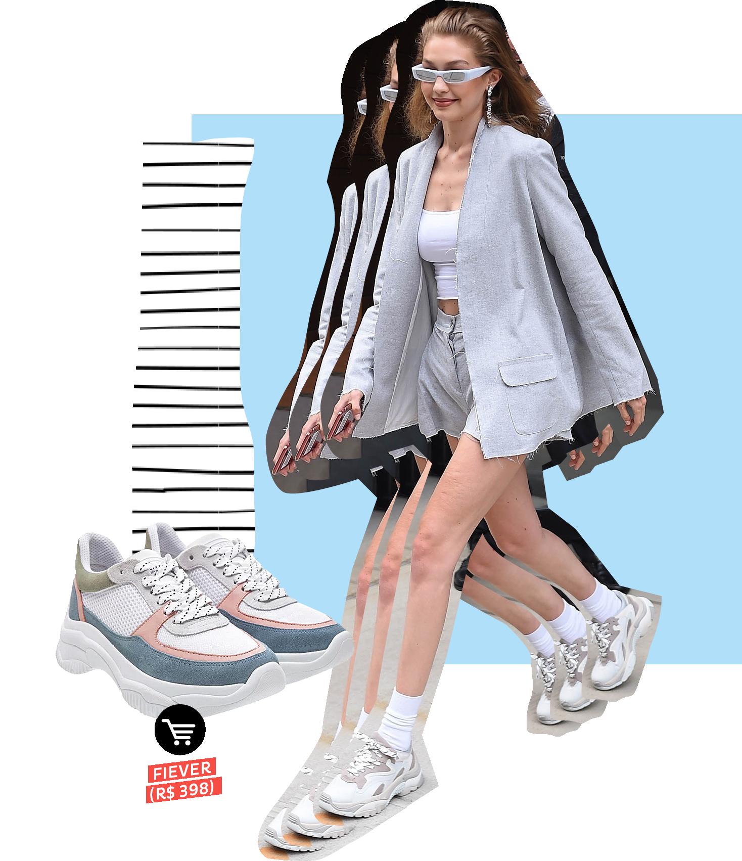Gigi Hadid usando dad sneakers no street style. Dicas de como usar e onde comprar