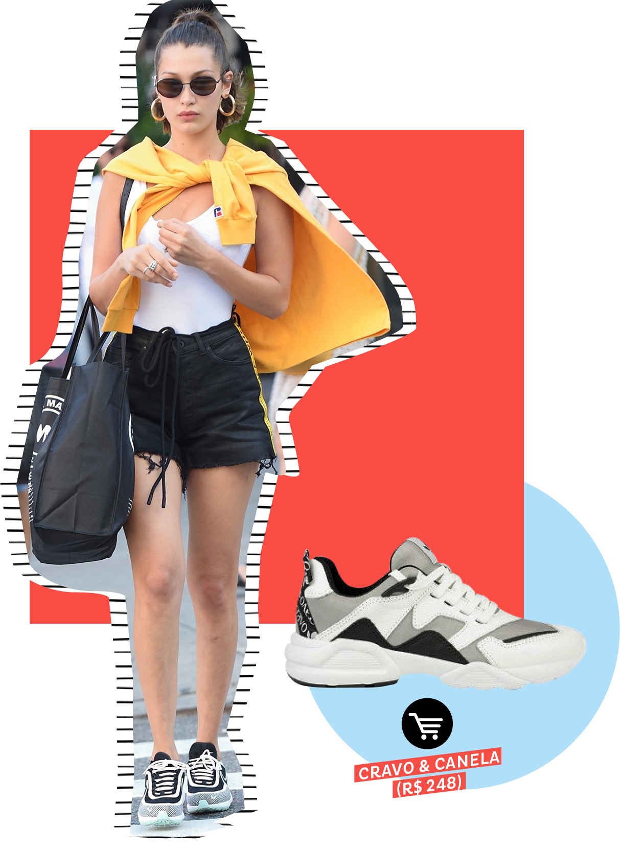 Bella Hadid usando dad sneakers no street style. Dicas de como usar e onde comprar