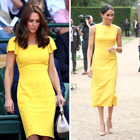 Kate e Meghan apostaram na cor amarela em eventos recentes.