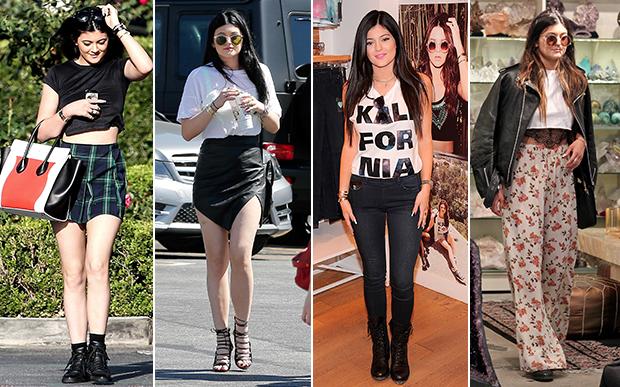 2013- no street style: Já nos looks do dia a dia, Kylie foi do college, com minissaia xadrez, ao boho, com a pantalona floral. Outro item desejo deste ano era a minissaia assimétrica - todas as famosas usavam a peça.