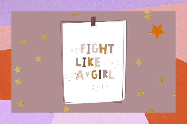 """Foto com uma ilustração dizendo """"lute como uma garota"""""""