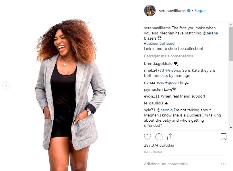 Foto postada no Instagram da Serena Williams.