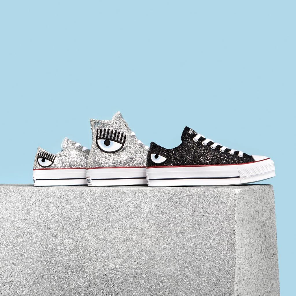 Glitter preto ou prata nos tênis da Converse criados pela Chiara Ferragni