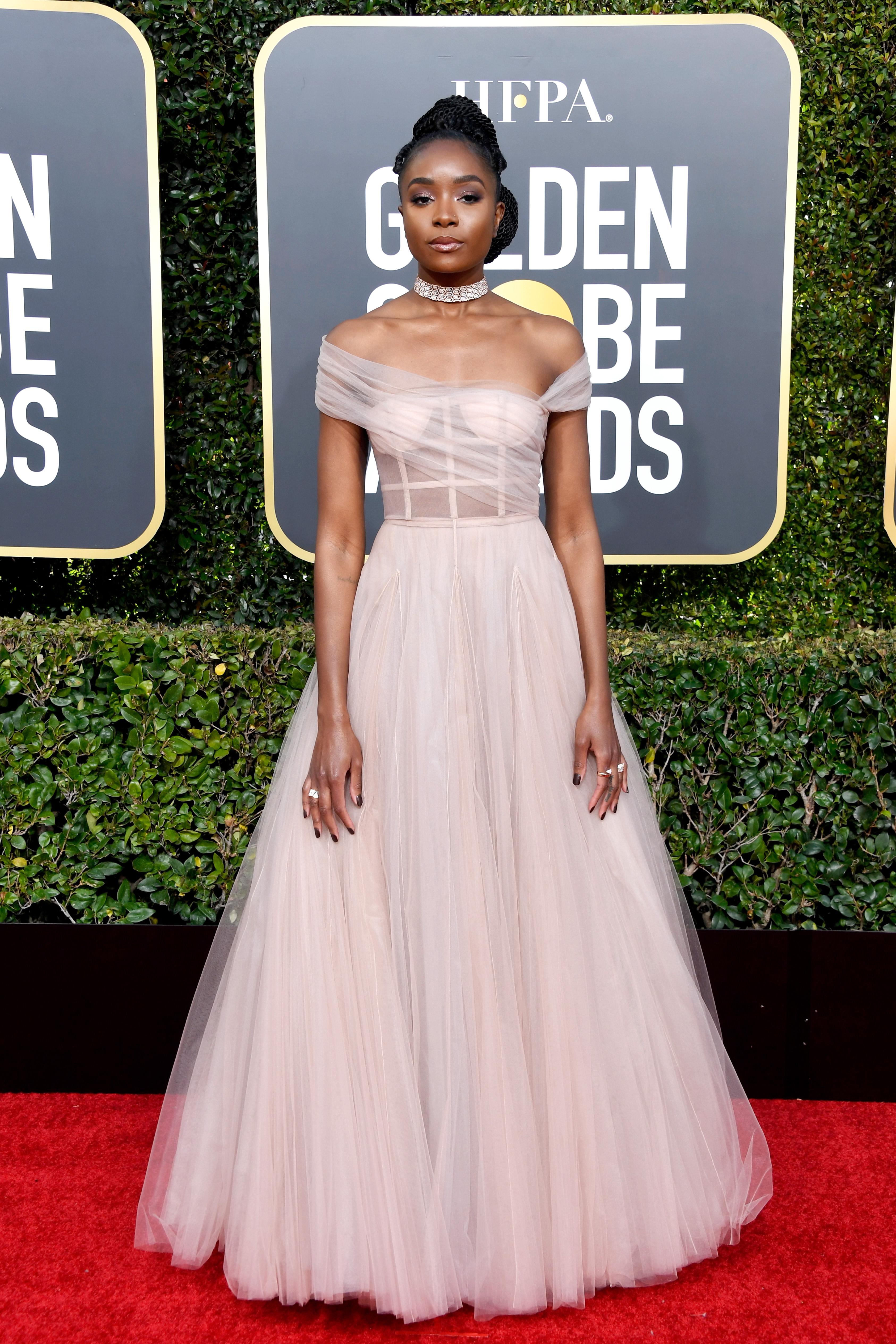O vestido Dior da Kiki Layne no Globo de Ouro 2019.