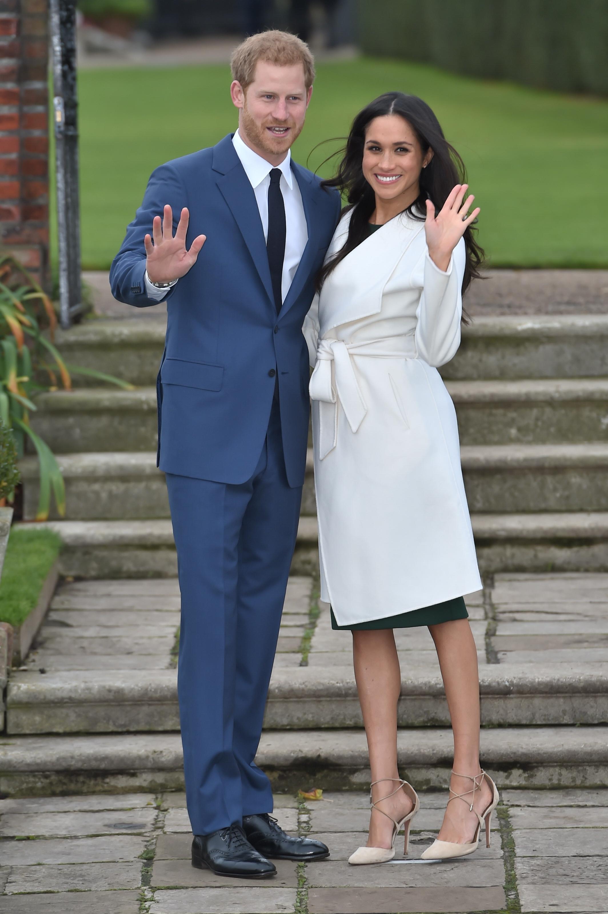 Príncipe Harry e Meghan Markle no anúncio de seu noivado em dezembro de 2017.