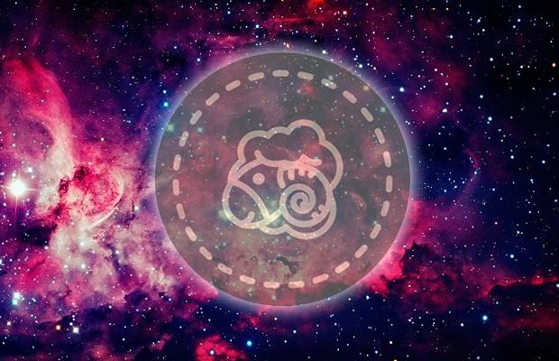 carneiro, símbolo do signo de Áries, em fundo de galáxia
