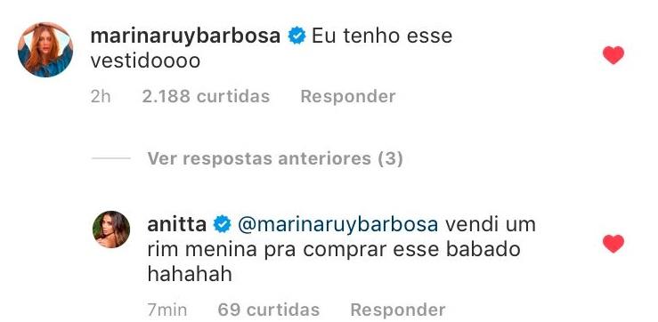 Marina Ruy Barbosa comenta na foto de Anitta