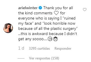 comentario de Ariel Winter no Instagram