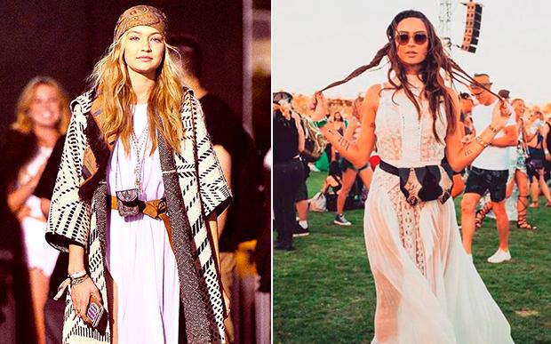O estilo boho combina muito com festival de música. Gigi Hadid e Thaila Ayala ficaram lindas, né?