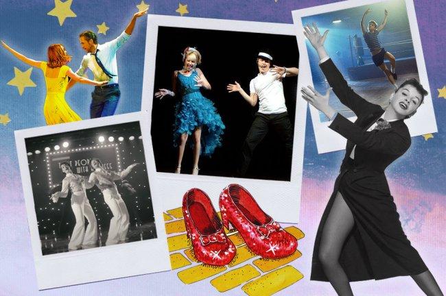 Montagem com imagens dos filmes LaLaLand, High School Musical, Billy Elliot, do clipe Treat People With Kindness, do Harry Styles, e da Judy Garland. Todos estão dançando.