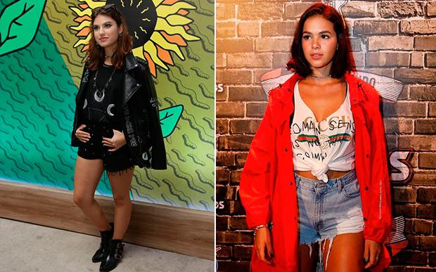 Jaqueta foi o item fashionista escolhido por Giovanna Grigio e Bruna Marquezine. A Gi estava na vibe rocker com jaqueta de couro, enquanto Bruna apostou no estilo street. Qual você usaria?