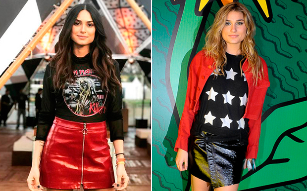 Thaila Ayala e Sasha Meneghel ficaram maravilhosas com produção nas cores preto e vermelho (uma dupla incrível) + saia.