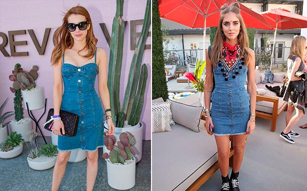 Já Emma Roberts e Chiara Ferragni apostaram no vestidinho jeans.
