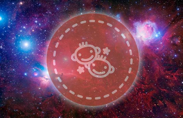 desenho de irmãos Gêmeos, símbolo do signo de Gêmeos, em fundo de galáxia