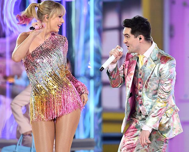 taylor-swift-Brendon-Urie-Billboard-Music-Awards-cabelo-rosa