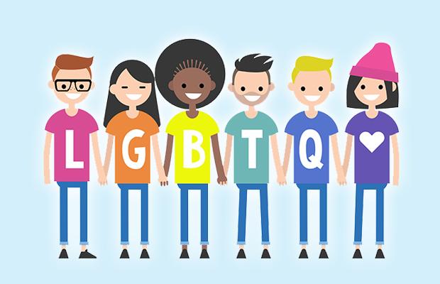 ilustração com várias pessoas dando as maõs; elas vestem camisetas que juntam formam a sigla LGBTQ+