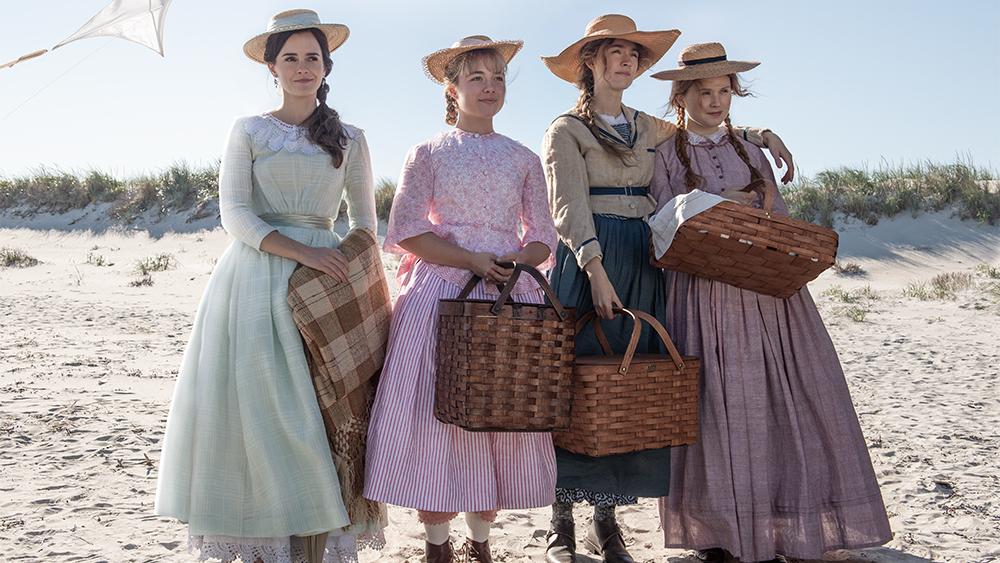 Emma Watson, Florence Pugh, Saoirse Ronan, Eliza Scanlen em Adoráveis Mulheres.