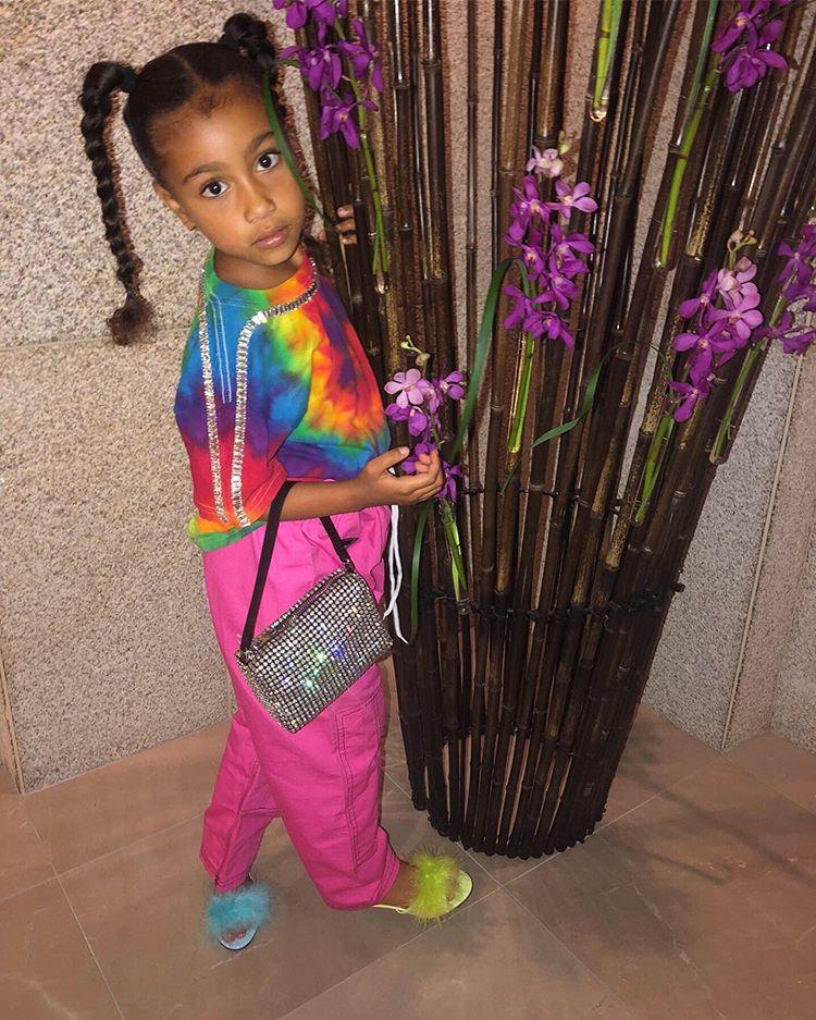 North West usando look colorido com blusa tie-dye, cabelo preso em trança posando ao lado de flores roxas