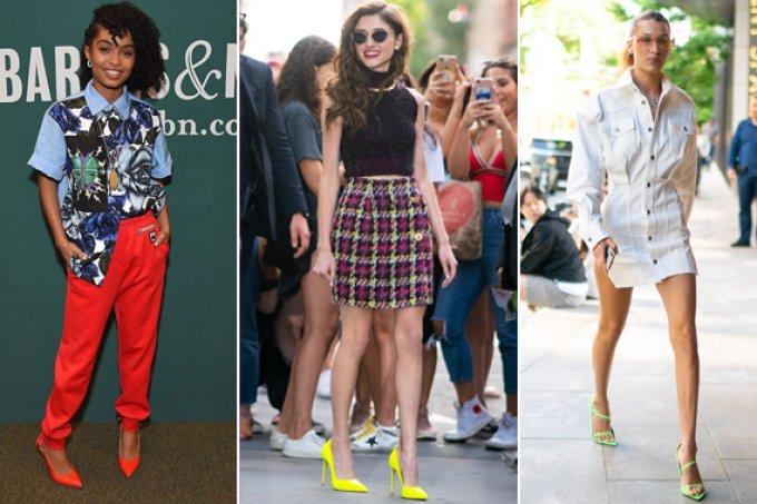 Os sapatos neon estao de volta aos looks das famosas