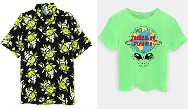 Camisa Frankenstein, ad Riachuelo (R$ 119,90*), e Camiseta Alien, da Ziovara (R$ 59,90*).