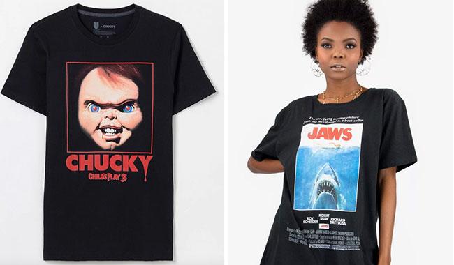 Camiseta Chucky: Brinquedo Assassino da Renner (R$ 49,90*) e tubarão Jaws da Ziovara (R$ 99,90*).