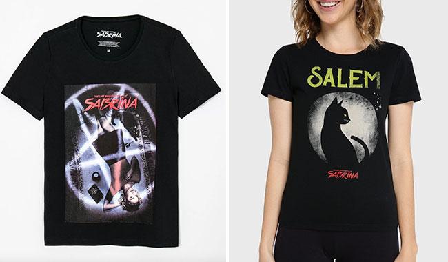 Camisetas O Mundo Sombrio de Sabrina ,da Renner (R$ 49,90*), e também da Riachuelo (R$ 29,90*).